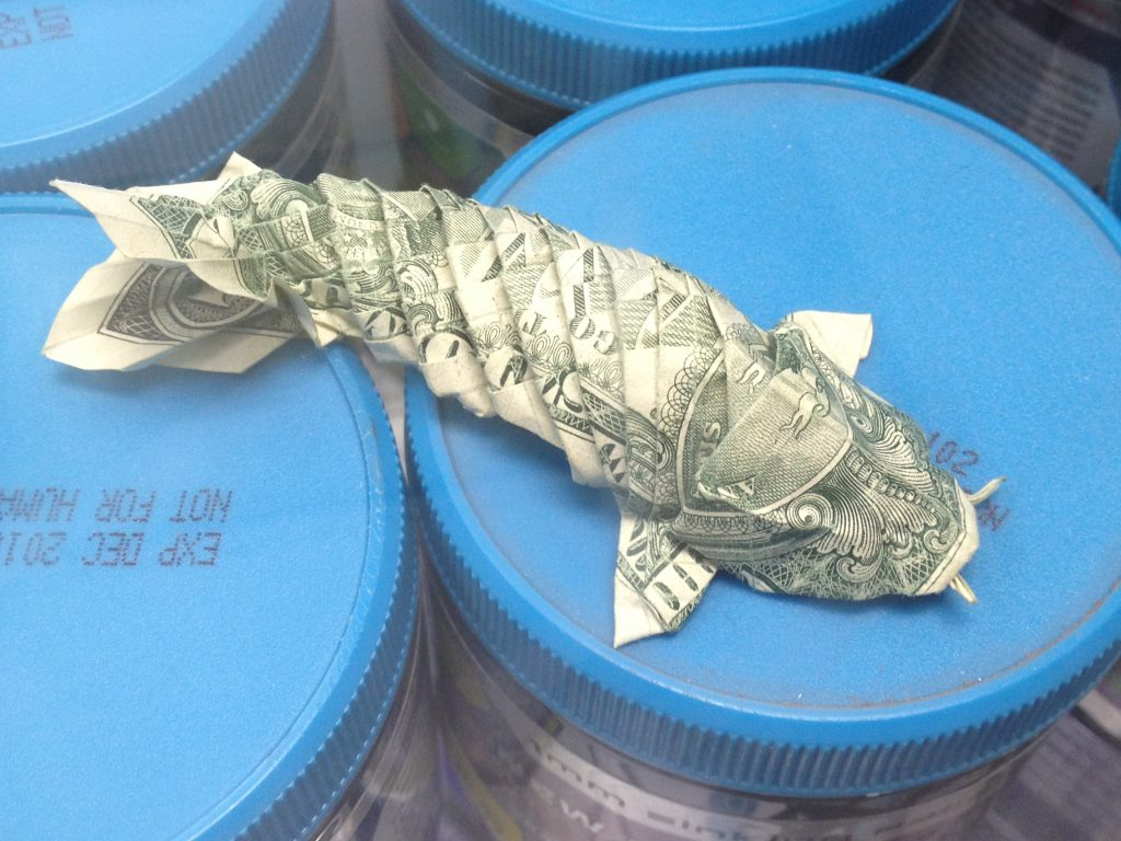 koi folded from a dollar
